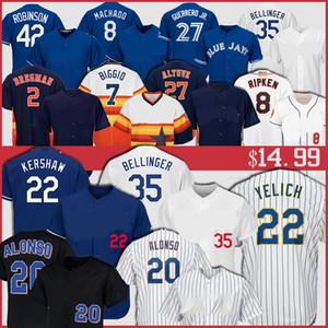 22 Clayton Kershaw Jersey 35 Cody Bellinger 27 Jose Altuve 2 Alex Bregman Christian Yelich 27 Vladimir Guerrero Jr. Cal Ripken Jr. Jersey