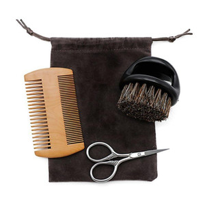 3pcs Wooden Beard Comb And Natural Bristles Brush With Scissors Set For Men C jllQIh