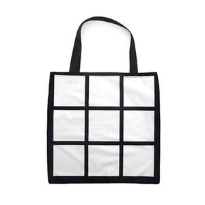 Sublimation Gitter Handtasche Einkaufstasche Blank White DIY Wärmeübertragung Einkaufstasche 9 Platten Tuch wieder verwendbaren Speichergeschenkbeutel Handtasche FFA4521