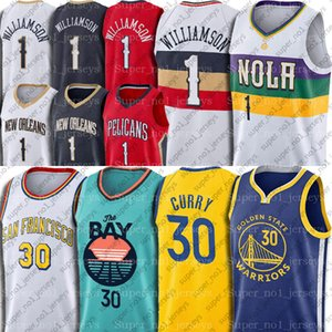 Zion 1 New Williamson Jersey Orleans Pelicans Jerseys Stephen 30 Golden Curry State Warriors Jersey Lonzo Basketball Ball