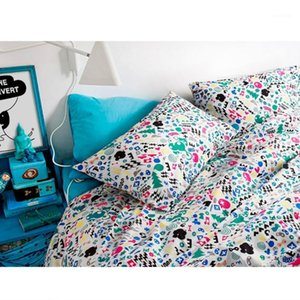 Brand100% Pamuk Cartton Baskı Avrupa Rahat Yatak Seti Yatak Örtüsü 4 ADET Nevresim Yorgan Kapak Çarşaf Yatak Örtüsü Yastık Kılıfları1