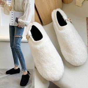 Snow boots solid color velvet women's autumn and winter warm cotton shoes peas shoes belt buckle plush shoes women