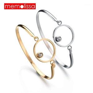 Memolissa na moda de aço inoxidável mulheres braceletes charme pulseira de ouro prata cristal para jóias personalizadas femininas1