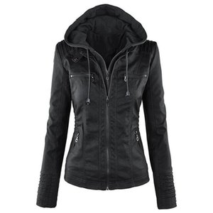 Hot PU Leather Women Hoodies Jacket Autumn Winter Motorcycle Jacket Black Outerwear Faux Leather Plus Size 7XL jaqueta de couro