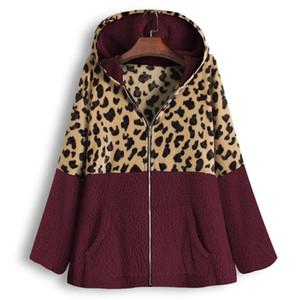 Female Jacket Plush Coat Women's Windbreaker Winter Warm Outwear Patchwork Hooded Pockets Vintage Oversize Coats Plus Size#J30