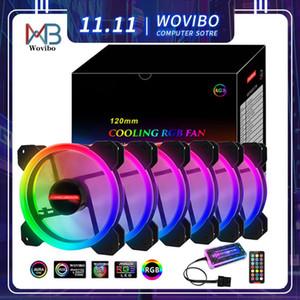 120 milímetros PC Computer Case Fan Cooler 6pin ajustável RGB Led 12V Mute Ventilador PWM RGB Casos Fãs Ajuste velocidade Aura Sincronização