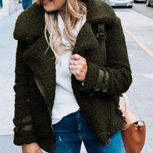 Kış Kadın Faux Fur Coat Sahte Deri ceketler Lady Kalın Sıcak Süet Kuzular Yün Kısa Motosiklet Kahverengi Coats Teddy Peluş Coat