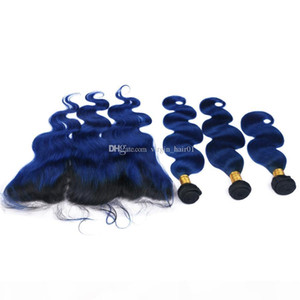 Brasileño Virgin Human Hair Weave Blue Hair Extensions 3 paquetes con encaje oscuro Lace Frontal Cierre Free Middle Parte Frontal Wavy
