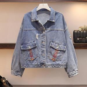 Hamaliel Plus Size Autunno Donne Denim Giacca giacca Cappotto 2019 Moda Ricamo Foro Nappa Jean Slitta Cappotti femminili Casual Capispalla1