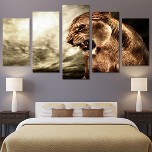 Wall Art Modern Home Decoration 5 Panel Animal Lion Living Room Canvas HD Print Modular Pictures Painting(No Frame)