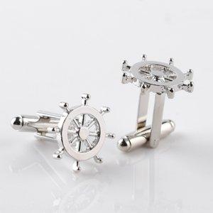 frwQm Высококачественный французский сплав обшивки лодки якорь руль Pin рубашки запонки металл мужской персонализированного рубашка рукав штифтом