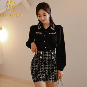 2020 Primavera Mulheres Lantern feminina Preto Chiffon Camisa Blusa + Tweed manta lápis Short Skirt Set Office Lady 2 Pieces Set