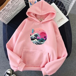 The Great Retro Wave oversized women Hoodies Pullover Harajuku loose Fleece Streetwear Outwear Sweatshirts for women clothes 201007