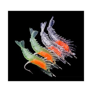 4pcs silicone simulation noctilucent soft prawn shrimp fishing lure hook bait#45662, 5e2jR