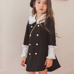 SK Wholesale Kids Girls Dresses for Party and Wedding Girls Dress Long Sleeve Turn-down Collar Princess Dress Winter Children Party Clothes