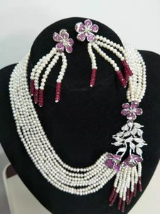 Flowers clasp micro inlay zircon accessories white freshwater pearl color jade necklace earrings set fashion jewelry