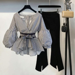 2021 Spring And Autumn New Women's Ladies Small Fragrance Style Two-Piece Striped Puff Sleeve Shirt Flare Pants Two-Piece Sets