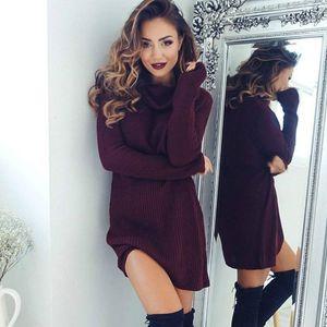 Knitted Slit Women Sweater Dress 2016 New Arrival Turtleneck Long Sleeve Dresses Women Fashion Autumn Winter Knit Bodycon Dress