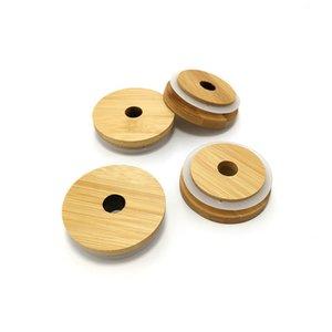 Мейсон Люки многоразовый Bamboo Caps Крышки с соломенным Hole и силиконовым уплотнением для Мейсона Фляг Каннинга питьевой баночка Крышка DHA2189