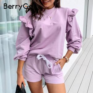 BerryGo Casual o neck women sweatshirt ladies tops Vintage ruffle purple sweatshirt long sleeve autumn pull femme tracksuit 201007