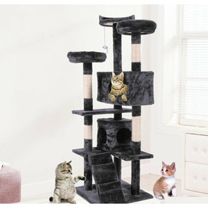 "60"" Cat Tree Tower Condo Furniture Scratching Post Pet Kitty Play House Black Ahdak"