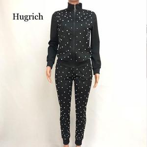 Las mujeres conjuntos de dos piezas set Pearl chándal de las cuentas de manga larga ocio jogger pantalones mujeres suituras suits streetwear salón ropa de vestir más tamaño
