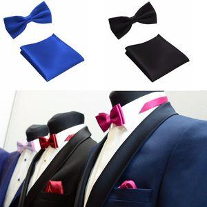 Tie Set Мужская одежда Аксессуары Bow Ties Карманный полотенце Mariage Однотонный Полиэстер бабочка Handkerchief