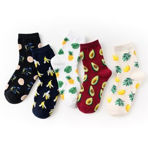 5 pares / set Mulher Harajuku Meias Tropical Fruit Meias Abacate Banana Sock Cotton Streetwear Funny Girl Sock Cópia bonito longo Soks 201009
