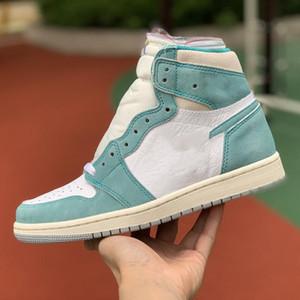 Jumpman 1 Retro alto Turbo Green Shoes Sail White Light Sm Schoenen Tamanho 40-46 Moda Sneakers Womans Designer