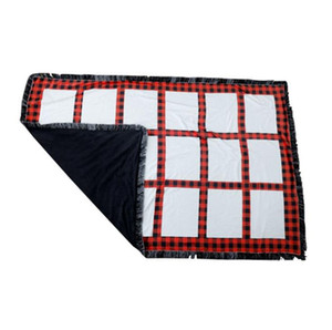 Thermal Transfer Printing Tassel Blankets Wrap Thick Warm Grids Blanket for DIY Sublimation Sofa Soft Blanket Red Black Plaid Bedding LY1105