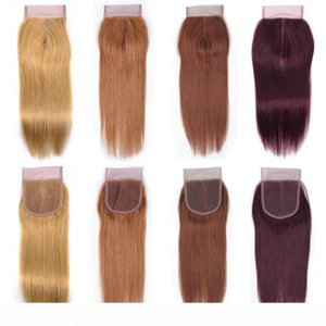 Чистый Colored Hair Lace Closure Вендоры 4x4 Бразильская человеческих волос Кружева Закрытие Цвет 27 30 33 99J Honey Blonde Medium Auburn Темно-красный