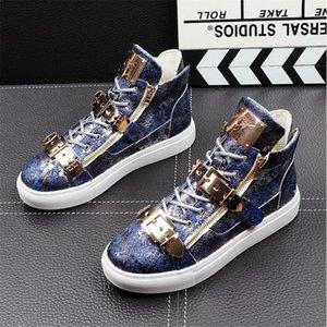 2021 новых тенденции моды Мужской обувь Punk Дизайнерские кроссовки Hip Hop High Tops Мужского Повседневных Квартиры ботильоны Zapatillas Hombre