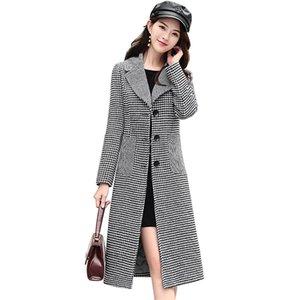 Wmswjh New 2020 Automne Hiver Manteaux longs Veste à carreaux chaud Manteau en laine épais dames Slim Manto Feminino Femme Outwears ON117