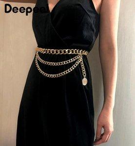 Deepeel 1pc 93cm Corset Mode pour femmes Métal décoratif Cummerbund Vintage frangée ChainSexy Vent Cummerbund YK711