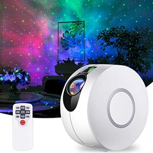 Star Projector Galaxy Starry Sky LED Lamp Rotating Night Light Colorful Nebula Cloud Bedroom Beside Lamp Remote Control GWF2120