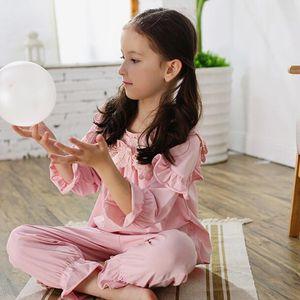 Ropa de hogar niños pijamas conjunto niñas ropa de dormir algodón encaje retro princesa nightgown for baby nightclothes de alta calidad lj201016