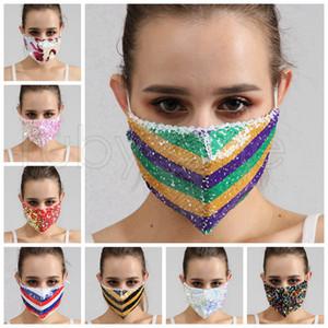 Bling Bling de las lentejuelas de la mascarilla a prueba de polvo Moda Máscaras Boca diseñador reutilizable lavable Mujeres mascarilla de máscaras de alta calidad 8styles RRA3671