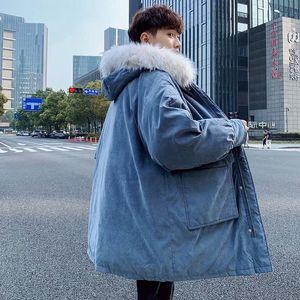 Korean Style Long Coat Men's Warm Fashion Casual Fur Collar Hooded Coat Men Overcoat Wild Loose Thick Winter Jacket Mens Clothes
