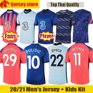 Футбольные майки 20 21 Chelsea WERNER ZIYECH 2020 2021 ABRAHAM PULISIC Футболка LAMPARD KANTE MOUNT Fans Player Version, мужская футболка, детский комплект