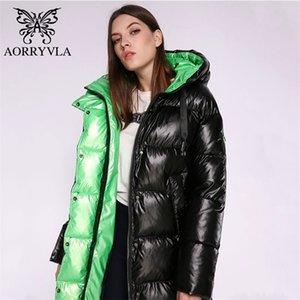 Aorryvla Yeni Kış Bayan Ceket Kalın Sıcak Uzun Puffer Ceket Pamuk Kadın Parkas Rahat Moda Kış Ceket Kadın Kapşonlu 201223