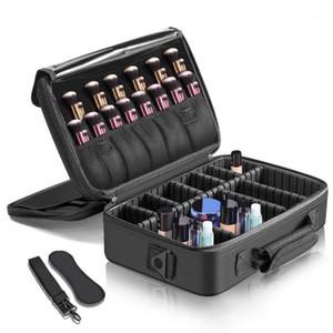Makeup Train Case 3 Layers Waterproof Travel Makeup Bag Cosmetic Organizer Kit Artist Storage Case Brush Holder with Adjustabl1
