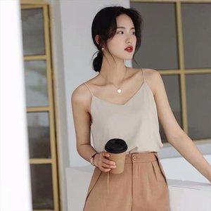 Korean Chiffon Top Women Woman V neck Satin Tank Top Woman Sleeveless Vest Tops Tees Plus Size Sexy Women White Ladies Camis