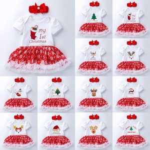 2 adet / takım 2020 Yeni Styke Yenidoğan Bebek Kız Benim 1st Noel Kostüm Santa Elk Noel Kardan Adam Tutu Romper Fantezi Elbise 0-24M