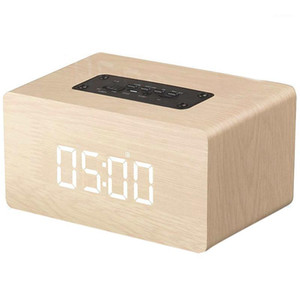 TOP!-Bluetooth Speaker Digital Alarm Clock Wooden, V4.2 Portable Wireless Dual Driver Speakers, 1500 Mah, Led Time Display, Tf1