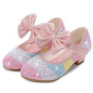 Crianças partido ULKNN couro Sapatos Flor crianças para meninas único Vestido Dança sapatos meninas PU Low Heel Lace Rosa Branco