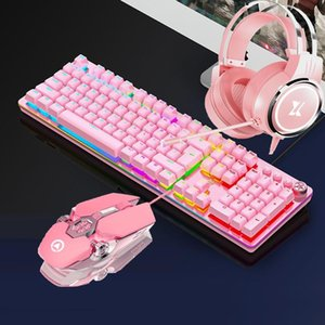 Pink Gaming Sets Mechanical Keyboard Earphone Combos Mouse Mechanical Green Switch Keybaord 3200DPI Wired USB Mouse Headset