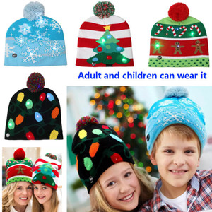 2020 Led Christmas Knitted Beanies Cap For Snowman Snowflake Christmas Tree Women Warm Hair Ball Light Up Hip-Hop Hats 4 Color HH7-1552