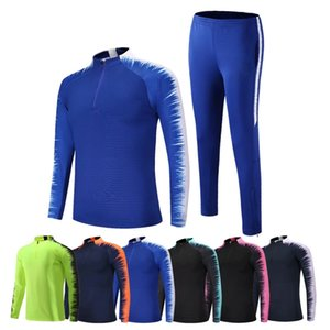 Soccer Jersey Coat Men's Sport Tracksuit Customize Sportwear Suit Half Zipper Suits Outwear Jacket+Pants Sets Asian Size 2XS-4XL 201119