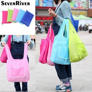 Sacos de compras reutilizáveis portáteis dobráveis bolsas casuais dobráveis bolsas de ombro para a cor sólida do supermercado ambiental