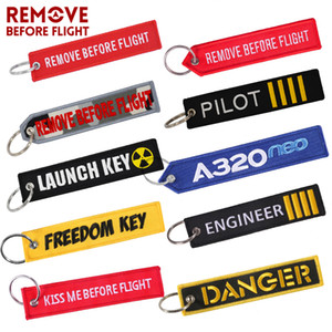Wholesale Keychains for Motorcycles and Cars Key Chains Jewelry 50 PCS Aviation Gifts Embroidery Keychain REMOVE BEFORE FLIGHT 201021